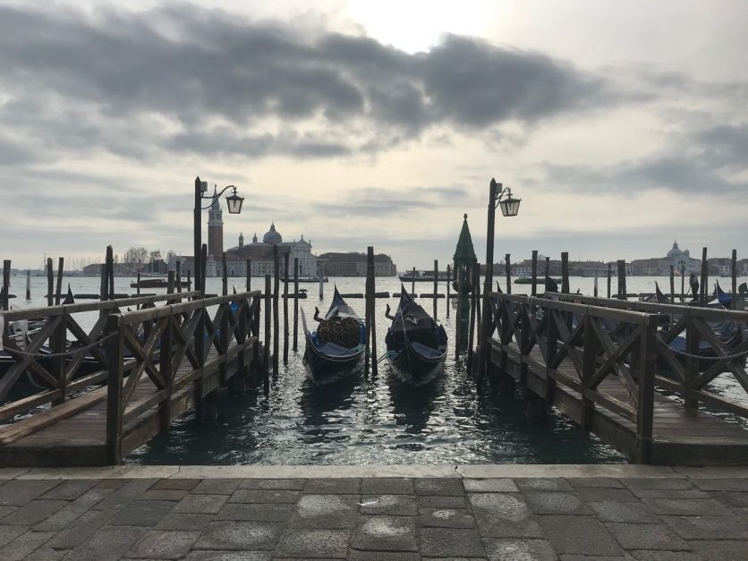 where to stay in venice | gondolas in San Marco neighbourhood