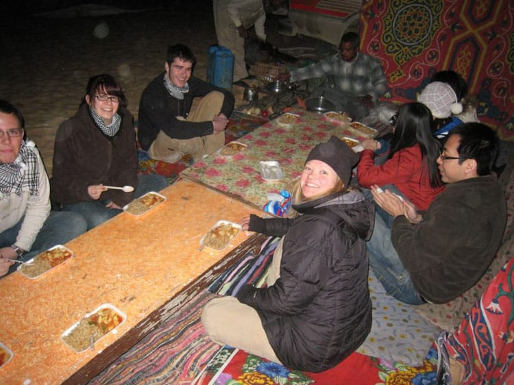 eating a bedouin dinner in the white desert