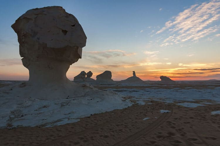 egypt's white desert at sunset
