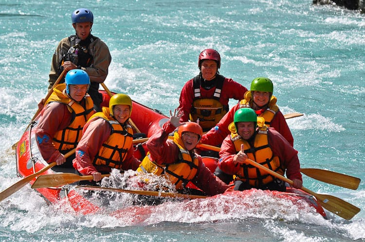 nearing the end of a whitewater rafting trip in new zealnd