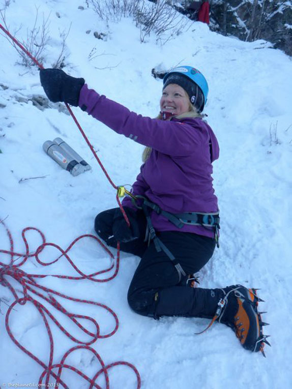 deb climbing in winter
