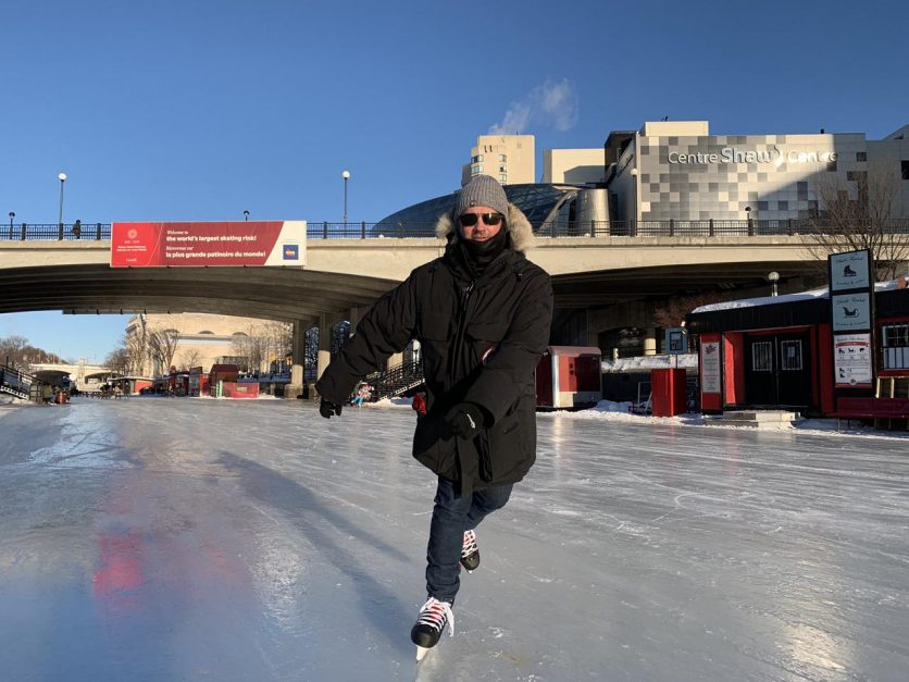 canadian stereotypes skating to work