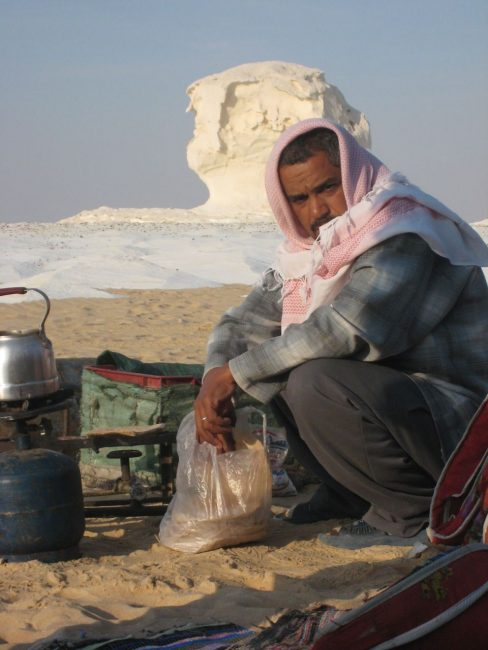 eating egyptian food in the desert