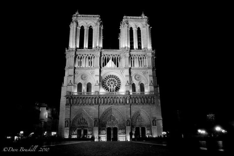 world in black and white notre dame