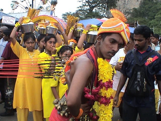 worshipper shows off at Malaysia's Thaipusam
