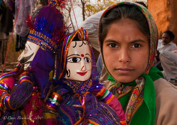 Young Girl From India with puppets