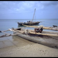 boat on beach in Zanzibar