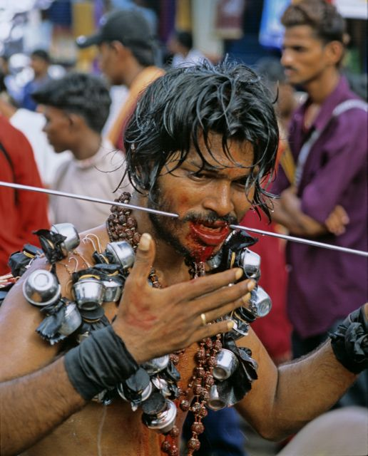 Thaipusam in Malaysia pilgrim with spikes
