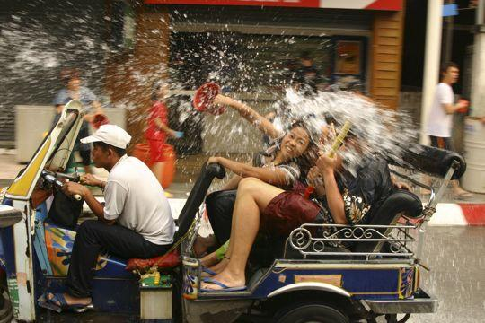getting wet at thailand's songkran festival