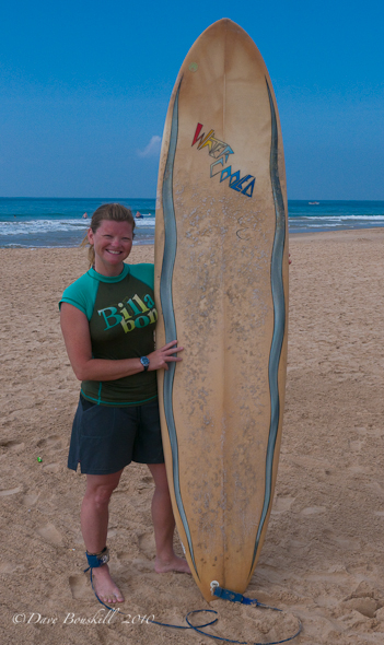 giant surf board as Deb takes a lesson in Sri Lanka