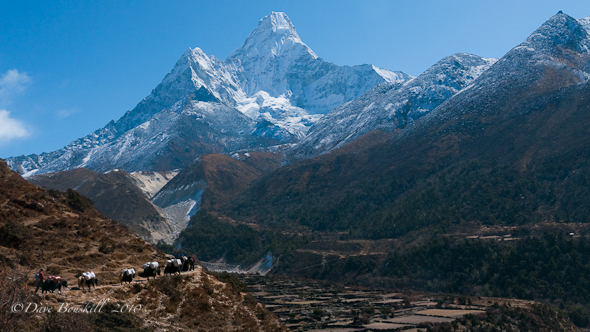 The Snow covers peaks of Himalaya Mountains in Nepal