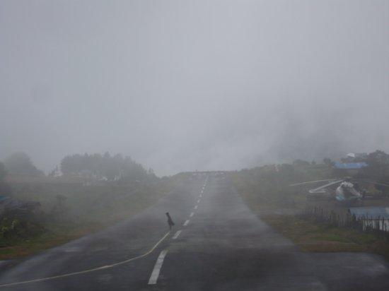 foggy airstrip in Lukla