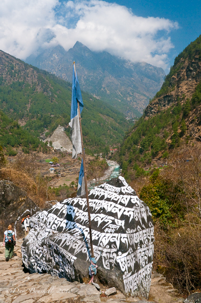 Prayer boulders line the trail of Everest Base Camp trek