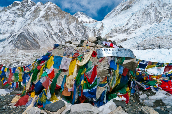 Image of the flags at Mount Everest base camp.