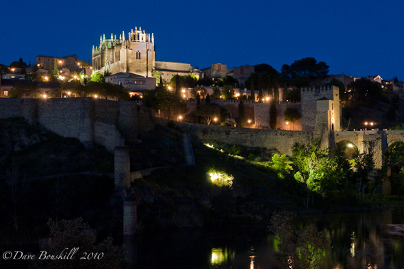 monastery in toledo spain at night