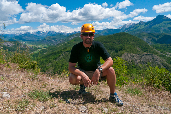french alps in background of via ferrata