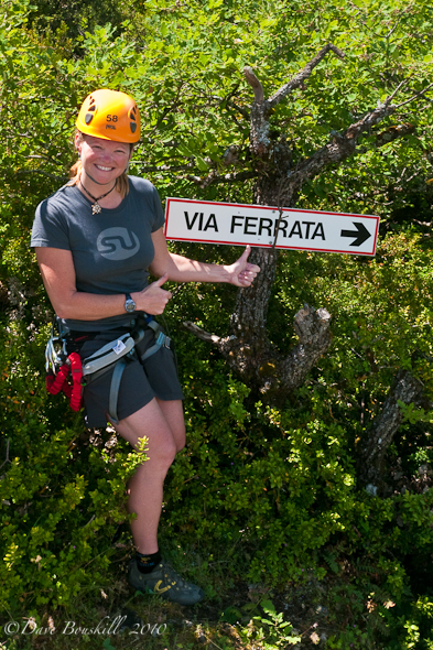 sign post to via ferrata in france