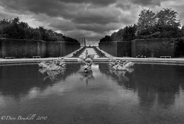 France-Palace-of-Versailles-Dragon-Fountain-B&W