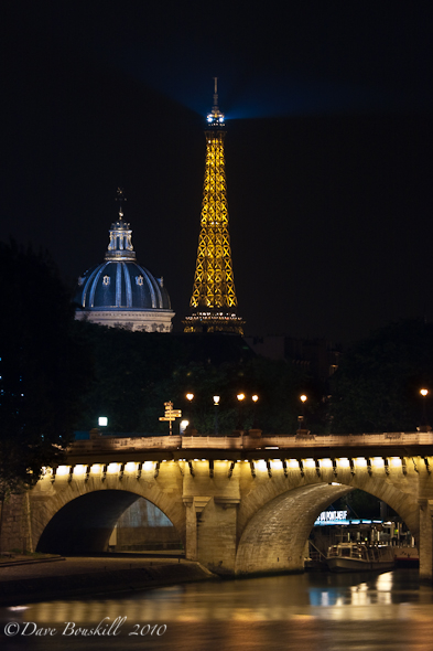 eiffel tower and les invalides at night