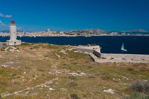view of marseilles from chateau d'if lighthouse