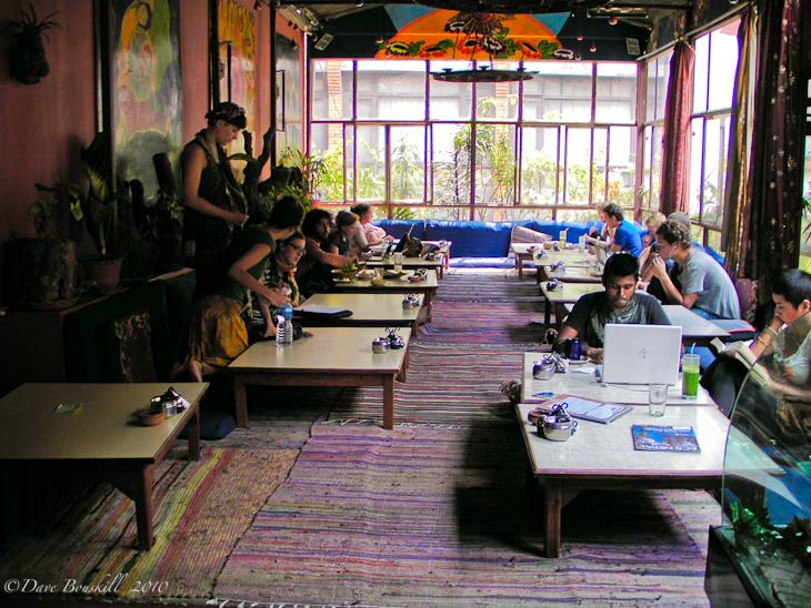 Inside the eatery OR2K in Kathmandu Nepal