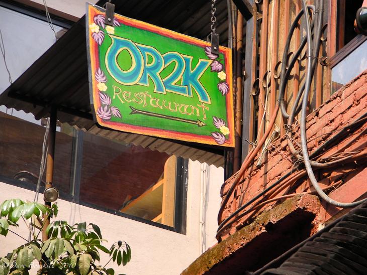 OR2K restaurant sign in Kathmandu